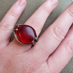 Vintage Ruby Rich Red Glass Cabochon Silver Ring
